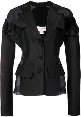 Antonio Berardi fitted sheer panel blazer