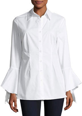 Neiman Marcus Bell-Sleeve Button-Up Top