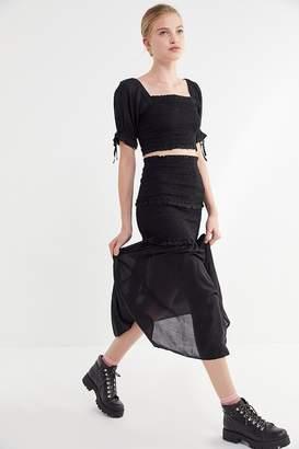 Urban Outfitters Zane Smocked Ruffle Maxi Skirt