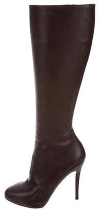 Christian Louboutin Leather Knee-High Boots Brown Leather Knee-High Boots