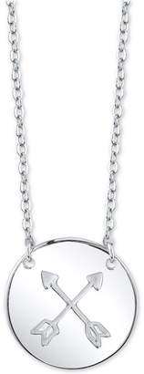 "Unwritten Double Arrow Disc 18"" Pendant Necklace in Sterling Silver"