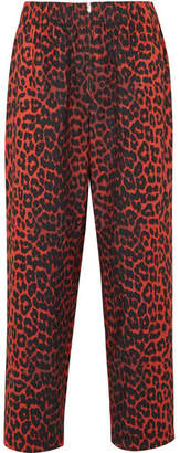 Ganni Bijou Leopard-print Cotton-twill Tapered Pants - Leopard print