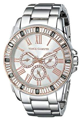 Vince Camuto Women's VC/5159GYRT Swarovski Crystal Accented Multi-Function Silver-Tone Bracelet Watch