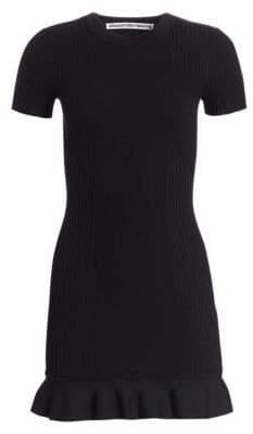 Alexander Wang Ribbed Ruffle Hem T-Shirt Dress
