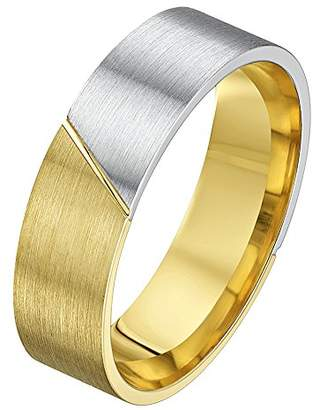 Theia His & Hers 14ct Yellow and White Gold Two-Tone 6mm Diagonal Split Wedding Ring - Size S