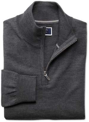 Charles Tyrwhitt Charcoal Merino Wool Zip Neck Jumper Size Large