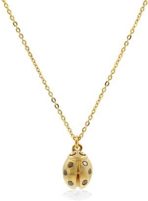 Lee Renee Ladybird Black Diamond Necklace (Wings Closed) - Gold
