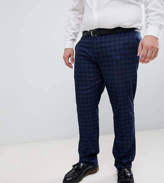 Farah Smart Hurstleigh skinny fit check suit pants in navy Exclusive at ASOS