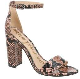 Sam Edelman Orient Express Yaro Snake Print Leather Ankle-Strap Sandals