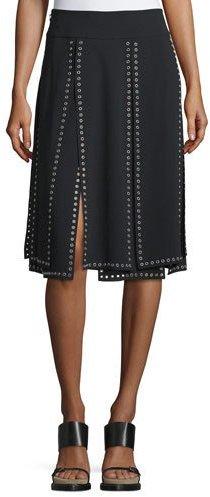 Michael Kors Collection Grommet-Embellished Carwash Skirt, Black