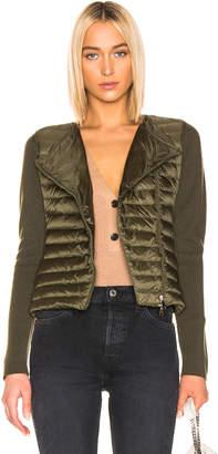 Moncler Asymmetric Zip Cardigan in Military Green | FWRD