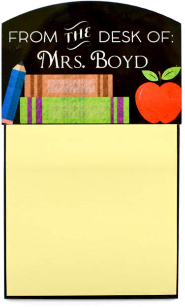 Pencil & Books Personalized Teacher Sticky Note Holder