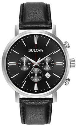 Bulova Chronograph Black Leather Strap Watch