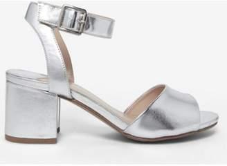 Dorothy Perkins Womens Wide Fit Silver 'Sabrina' Block Heel Sandals