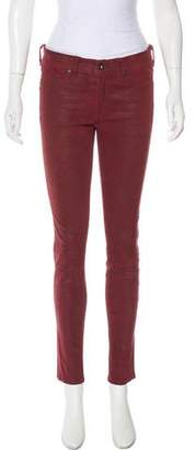 Rag & Bone Leather Mid-Rise Skinny Pants