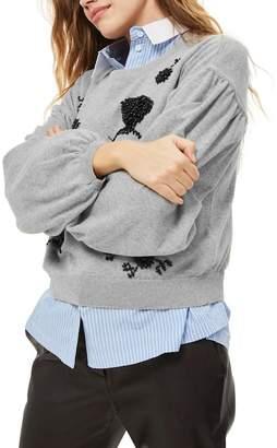 Topshop Beaded Balloon Sleeve Sweater