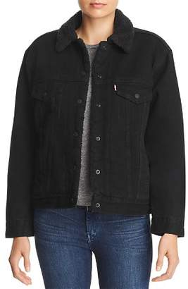 Levi's Ex-Boyfriend Sherpa-Trimmed Denim Trucker Jacket