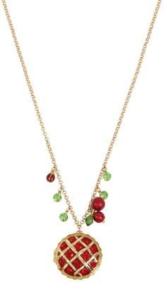 Betsey Johnson Picnic Goldtone Crystal Cherry Pie Pendant Long Necklace