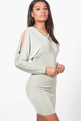 boohoo Maria Open Shoulder Textured Slinky Bodycon Dress