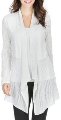 Joan Vass New York Striped Mesh-Paneled Cardigan