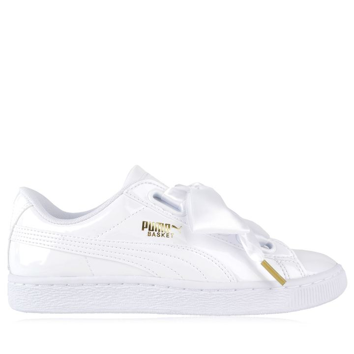 Puma Basket Heart Trainers In Patent White