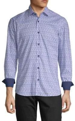 Gradient Square Cotton Button-Down Shirt