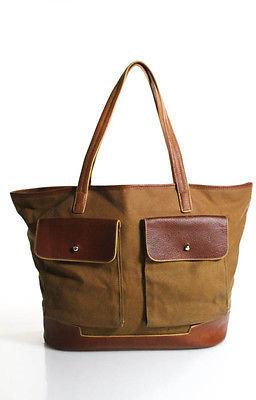 HunterHunter Brown Canvas Leather Contrast Medium Tote Handbag