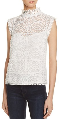 AQUA Lace Mock Neck Sleeveless Top - 100% Exclusive $68 thestylecure.com