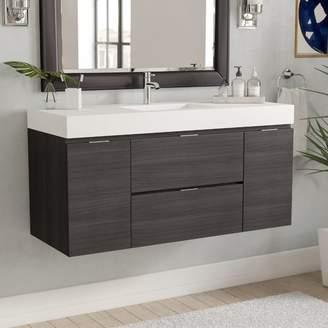 "Wade Logan Tenafly 48"" Single Wall Mount Modern Bathroom Vanity Set Base"