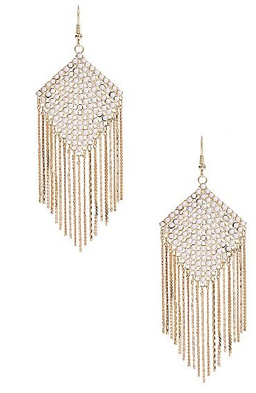 GUESS White Stone Earrings with Fringe Chain