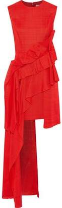 DELPOZO Asymmetric Ruffled Gauze Mini Dress