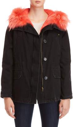 Yves Salomon Army Black Real Fur Trim Hooded Coat