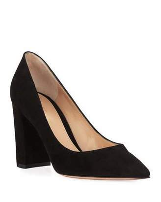 Gianvito Rossi Suede Pointed-Toe Pumps with Chunky Heel