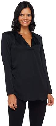 Halston H By H by Ruched V-neck Long Sleeve Woven Blouse