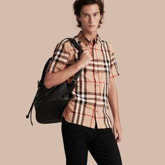 Burberry Short-sleeved Check Linen Cotton Shirt $295 thestylecure.com