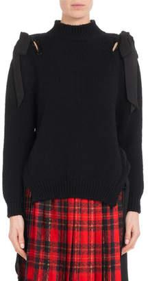 Simone Rocha Mock-Neck Bow-Shoulder Merino Wool Knit Pullover Sweater