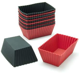Freshware 12-Pack Mini Rectangle Reusable Silicone Baking Cup, Black and Red, CB-308RB