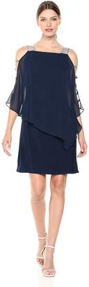 MSK Women's Overlay Dress w/bar Sleeve Trim, M