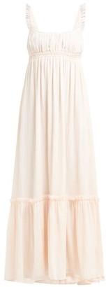 Loup Charmant Sonnet Gathered Organic Cotton Maxi Dress - Womens - Pink