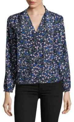 Rebecca Taylor Long-Sleeve Silk Floral Blouse