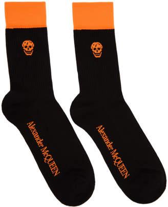 Alexander McQueen Black and Orange Stripe Skull Socks