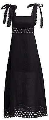 Zimmermann Women's Verity Tie Shoulder Linen Maxi Dress