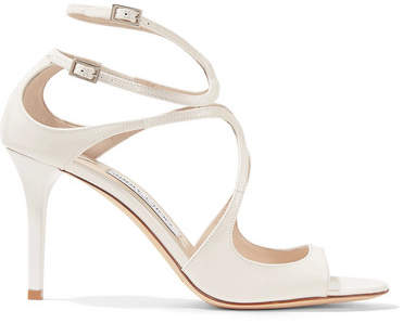 Jimmy Choo - Ivette 85 Cutout Patent-leather Sandals - White