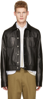 Maison Margiela Black Leather Trucker Jacket $3,250 thestylecure.com