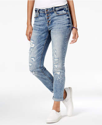 Black Daisy Juniors' Ripped Appliqued Relaxed Fit Girlfriend Jeans