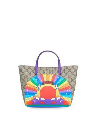 7ef97efb9208 Gucci Kids' Rainbow Print GG Supreme Tote Bag