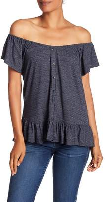 Lucky Brand Off-the-Shoulder Button Down Top