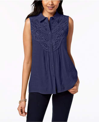 NY Collection Petite Crochet-Bib Sleeveless Top