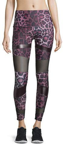 Onzie Bondage Paneled High-Rise Legging, Purple Cheetah