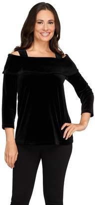 Susan Graver Stretch Velvet 3/4 Sleeve Foldover Collar Top